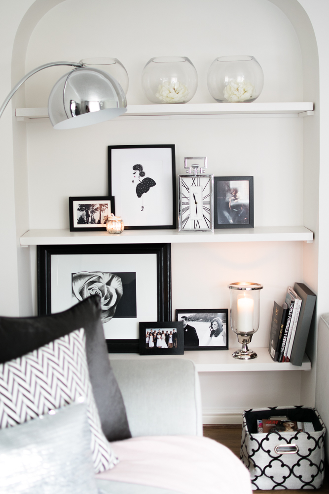 Living room candle lit shelf
